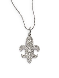 Sydney Evan - Diamond Large Fleur De Lis Pendant Necklace/White Gold