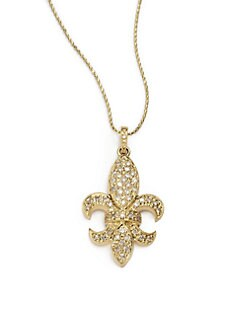 Sydney Evan - Diamond Large Fleur De Lis Pendant Necklace/Yellow Gold