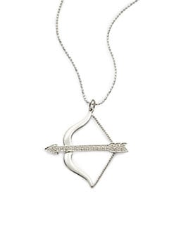 Sydney Evan - Diamond Medium Bow & Arrow Pendant Necklace/White Gold