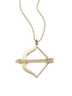 Sydney Evan - Diamond Medium Bow & Arrow Pendant Necklace/Yellow Gold
