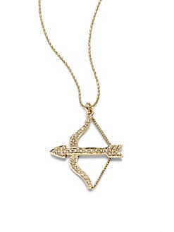 Sydney Evan - Diamond Small Bow & Arrow Pendant Necklace/Yellow Gold