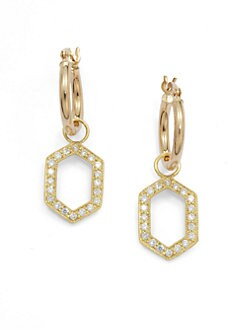 KC Designs - Diamond Convertible Hexagon Drop Earrings/Yellow Gold