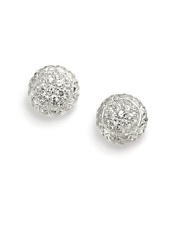 Slane - Pave White Sapphire Basketweave Earrings
