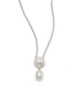 Slane - 7MM Oval Freshwater Pearl & Diamond Necklace