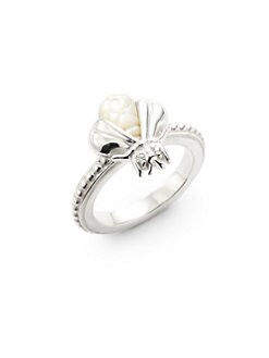 Slane - Mother of Pearl & Diamond Bee Free Ring