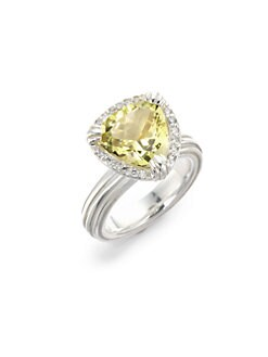 Slane - Lemon Citrine & Pave Diamond Pave Ring