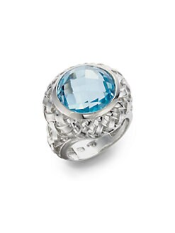 Slane - Blue Topaz Basketweave Ring