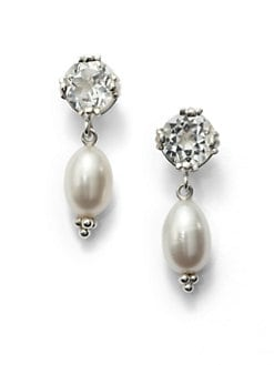 Slane - 7MM Oval Freshwater Pearl & White Topaz Earrings