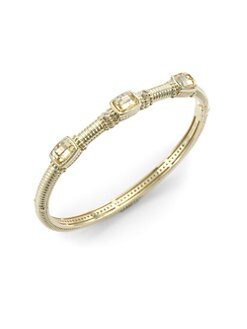Judith Ripka - Canary Crystal, Diamond & 14K Gold Textured Bangle Bracelet