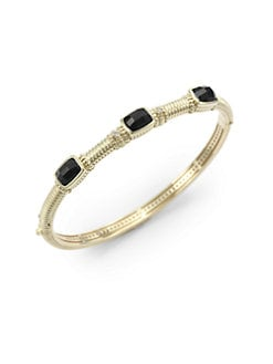 Judith Ripka - Black Onyx, Diamond & 14K Gold Textured Bangle Bracelet