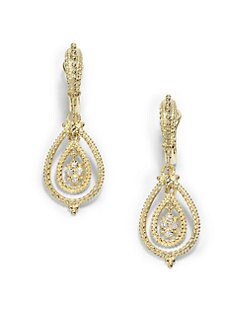 Judith Ripka - Pave Diamond & 14K Yellow Gold Open Teardrop Earrings