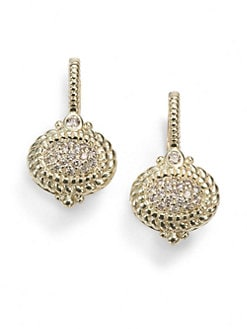 Judith Ripka - Pave Diamond & 14K Yellow Gold Drop Earrings