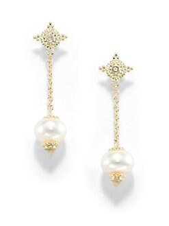 Judith Ripka - 10MM White Rondell Pearl, Diamond & 14K Yellow Gold Chainlink Drop Earrings