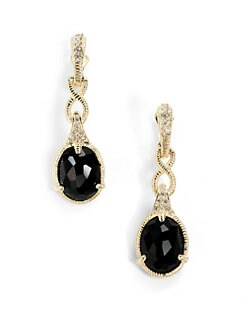 Judith Ripka - Black Onyx, Diamond & 14K Yellow Gold Infinity Drop Earrings