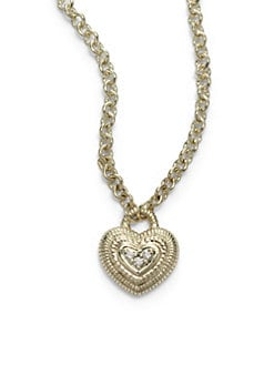 Judith Ripka - Pave Diamond & 14k Yellow Gold Heart Pendant Necklace