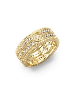 Judith Ripka - Pave Diamond & 14K Yellow Gold Cutout Ring