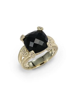 Judith Ripka - Black Onyx, Diamond & 14K Yellow Gold Split Shank Ring