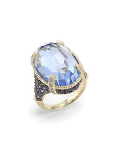 Judith Ripka - Blue Quartz, Sapphire & Diamond 14K Yellow Gold Ring