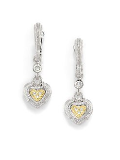 Judith Ripka - White Sapphire, Sterling Silver & 18k Yellow Gold Heart Drop Earrings