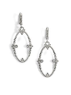 Judith Ripka - White Sapphire & Sterling Silver Garland Oval Drop Earrings