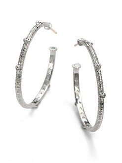 Judith Ripka - Sterling Silver Fluted Heart Hoop Earrings