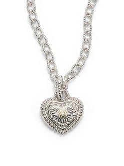 Judith Ripka - Diamond, 18k Yellow Gold & Sterling Silver Heart Pendant Necklace