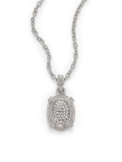 Judith Ripka - Pave White Sapphire & Sterling Silver Dome Necklace