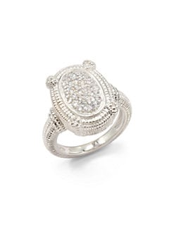 Judith Ripka - Pave White Sapphire & Sterling Silver Textured Dome Ring
