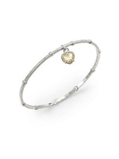 Judith Ripka - Canary Crystal Heart & Sterling Silver Textured Bangle Bracelet