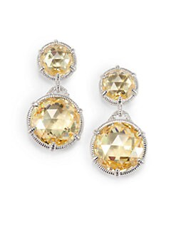 Judith Ripka - Canary Crystal, White Sapphire & Sterling Silver Double Drop Earrings