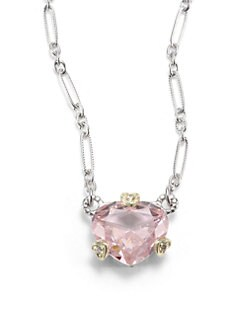 Judith Ripka - Pink Crystal, Diamond & 18k Yellow Gold Heart Charm Necklace