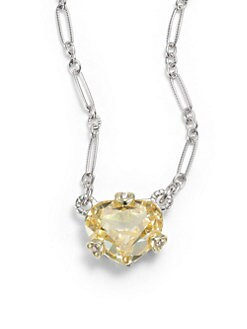 Judith Ripka - Canary Crystal, Diamond & 18k Yellow Gold Heart Charm Necklace