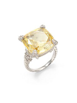 Judith Ripka - Canary Crystal, White Sapphire & Sterling Silver Twisted Ring