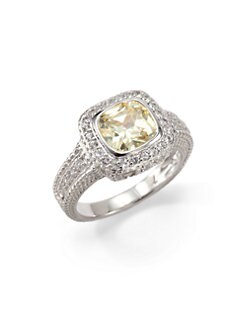 Judith Ripka - Canary Crystal, White Sapphire & Sterling Silver Textured Ring