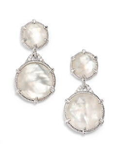 Judith Ripka - Mother of Pearl Doublet, White Sapphire & Sterling Silver Double Drop Earrings