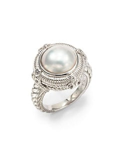 Judith Ripka - 12MM White Mabe Pearl, White Sapphire & Sterling Silver Ring