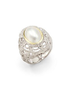 Judith Ripka - 14MM White Mabe Pearl, Sterling Silver & 18K Yellow Gold Ring