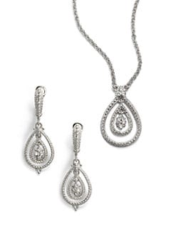 Judith Ripka - Pave White Sapphire & Sterling Silver Open Teardrop Necklace & Earrings Set