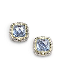 Judith Ripka - Blue Quartz, Diamond & Sterling Silver Stud Earrings