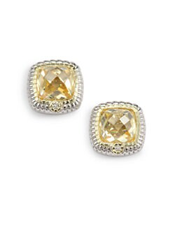 Judith Ripka - Canary Crystal, Diamond & Sterling Silver Stud Earrings