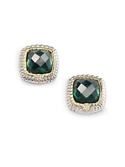 Judith Ripka - Green Quartz, Diamond & Sterling Silver Stud Earrings