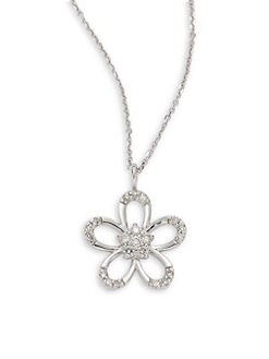 KC Designs - Diamond Open Flower Pendant Necklace/White