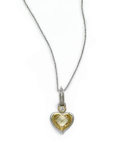 Judith Ripka - Diamond & Canary Crystal Small Heart Pendant