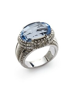 Judith Ripka - Diamond & Blue Quartz Oval Ring