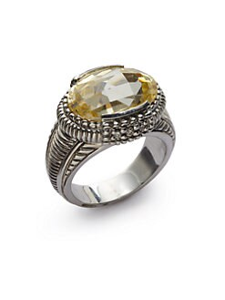 Judith Ripka - Diamond & Canary Crystal Oval Ring