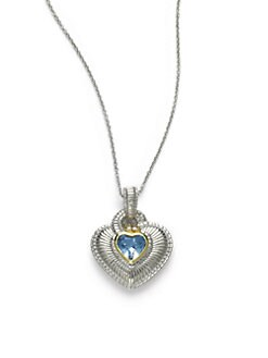 Judith Ripka - Diamond & Blue Quartz Heart Pendant
