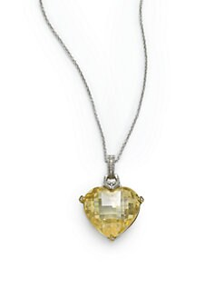 Judith Ripka - Diamond & Canary Crystal Large Heart Pendant