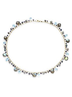 BLACK Saks Fifth Avenue - Blue Freshwater Pearl, Labradorite, Iolite & Topaz Necklace