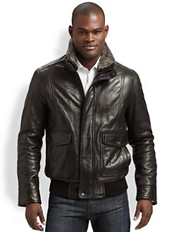 Andrew Marc - Leather Aviator Bomber Jacket