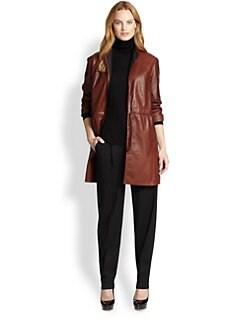 Lafayette 148 New York - Leather Vangeline Trench Jacket